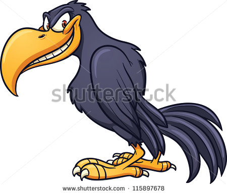 Evil Cartoon Crow  Vector Clip Art Illustration With Simple Gradient