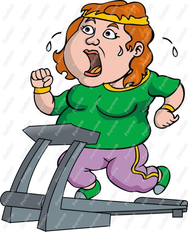 Fat Woman Sweating On Treadmill Clip Art   Royalty Free Clipart