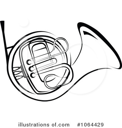 Clip Art French Horn Clipart french horn black and white clipart kid 1064429 by seamartini graphics royalty free rf