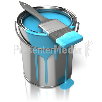 Paint Can With Brush   Home And Lifestyle   Great Clipart For