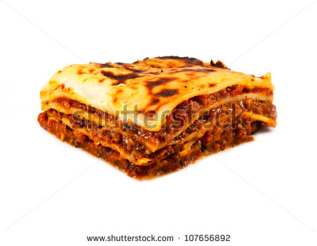 An Isolated Traditional Lasagna Made With Minced Beef Bolognaise Sauce