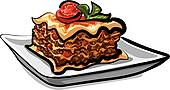 Baked Lasagna   Clipart Graphic