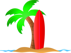 Beach Clipart Image   Surfboard And Palm Tree On The Beach In Hawaii