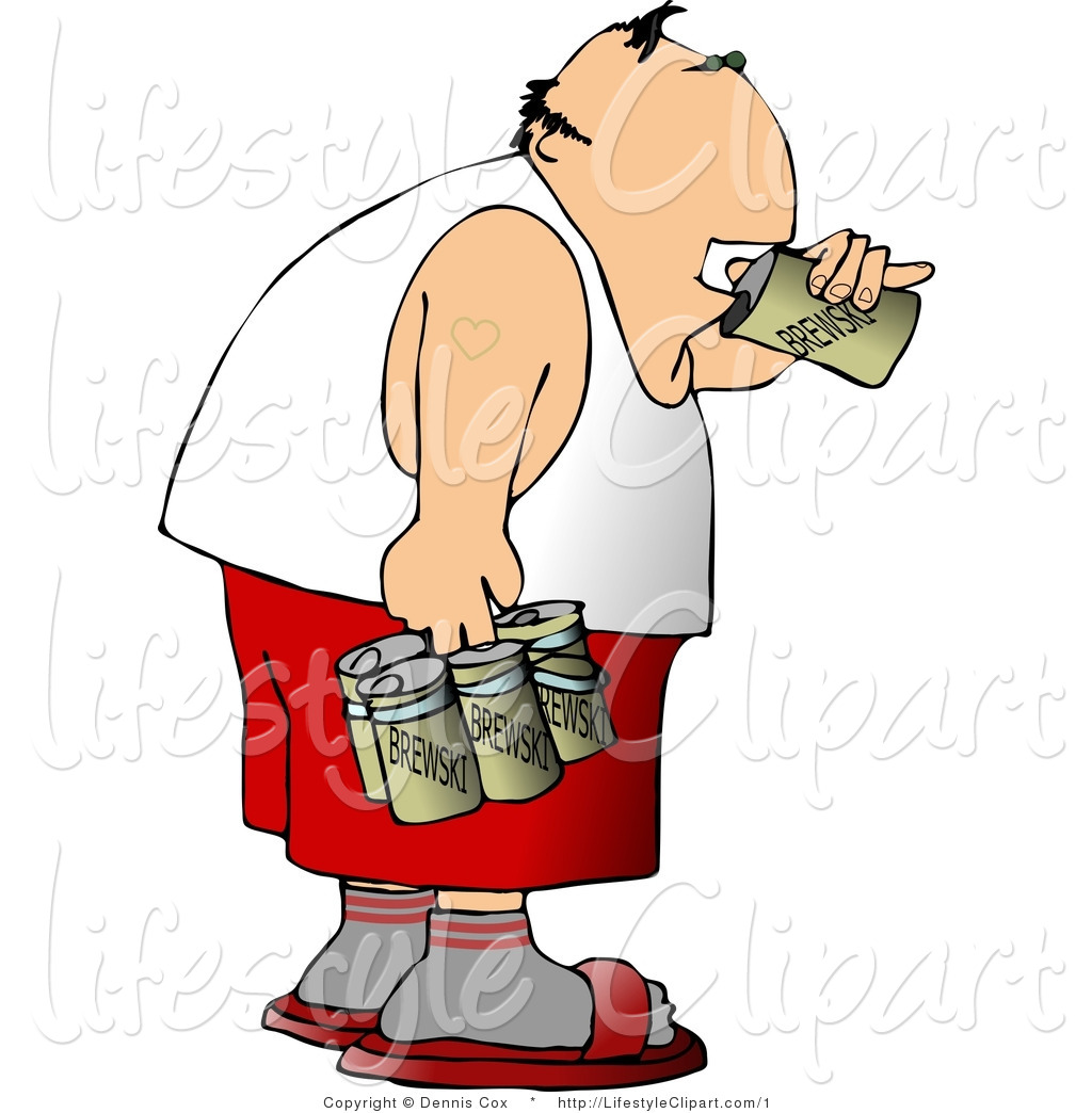 Clipart Of A Drunk Man Drinking Can Of Beer   Royalty Free By Djart