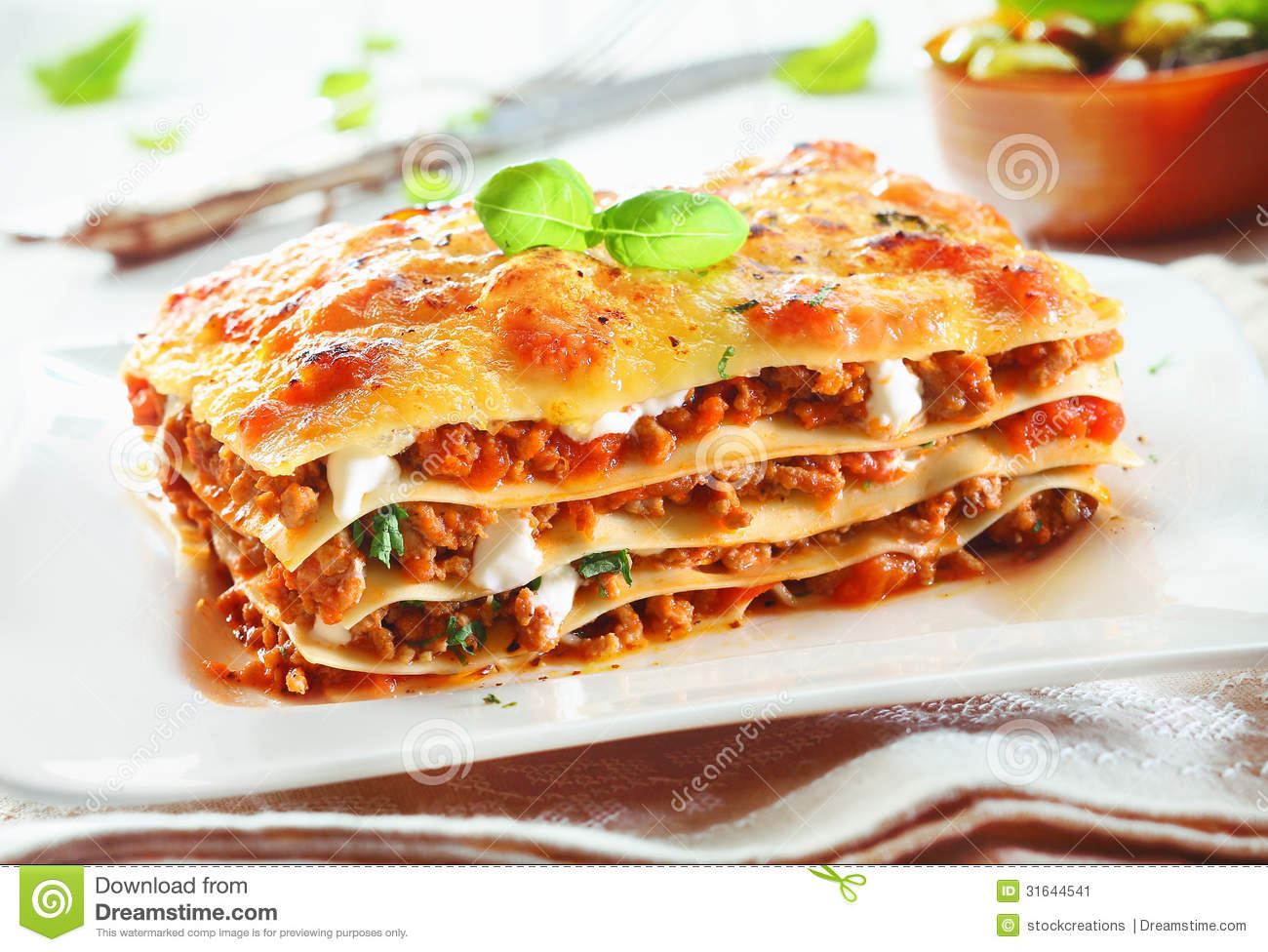 Close Up Of A Traditional Lasagna Made With Minced Beef Bolognese