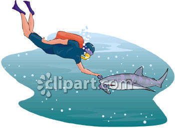 Man Scuba Diving With A Shark Royalty Free Clipart Image