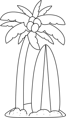 Palm Tree Clip Art   Black And White Surfboard Under A Palm Tree Image