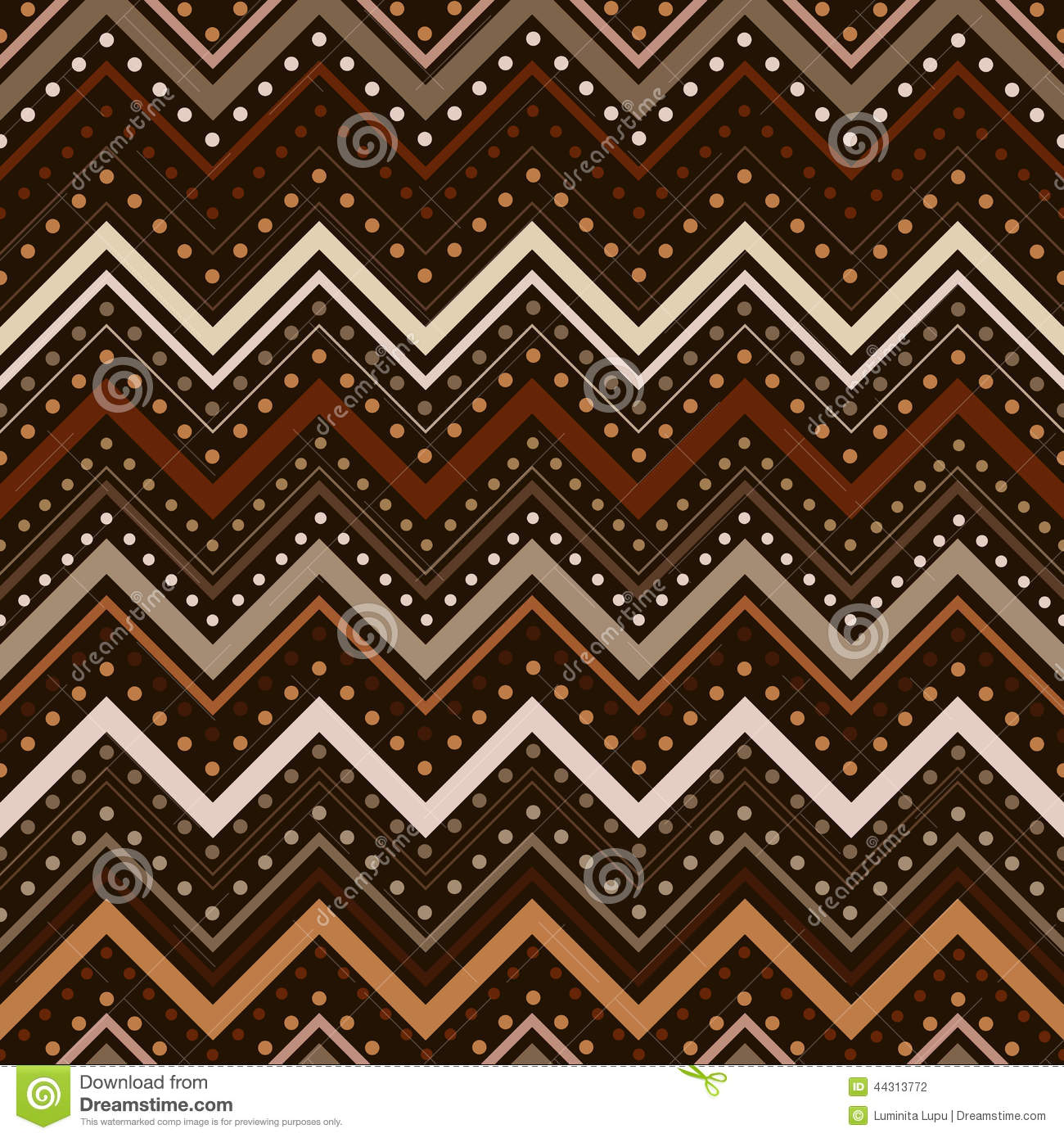 Zig Zag Pattern With Lines And Dots In Brown Tones Stock Vector