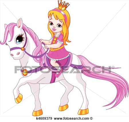 Clip Art   Little Princess On Horse  Fotosearch   Search Clipart