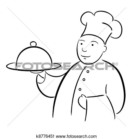 Clipart   Chef Cook With Tray Calligraphy Drawing  Fotosearch   Search