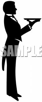 Clipart Image Of A Waiter Holding Out A Tray   Foodclipart Com