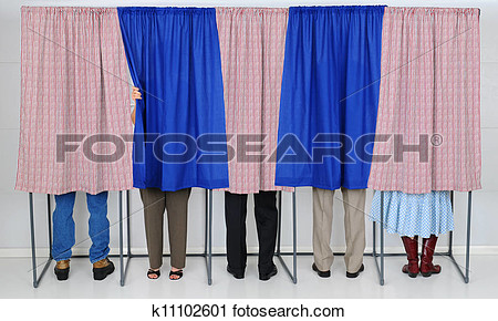 Clipart   People In Voting Booths  Fotosearch   Search Clip Art