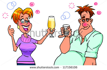 Drunk Woman Proposing A Toast   Stock Photo