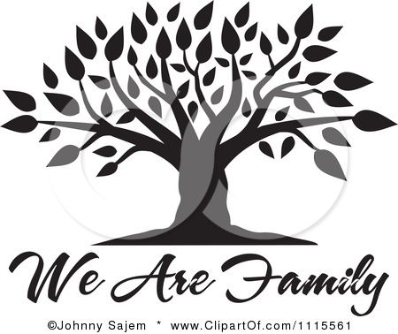 Family Reunion Clip Art        Black Tree Over We Are Family Text