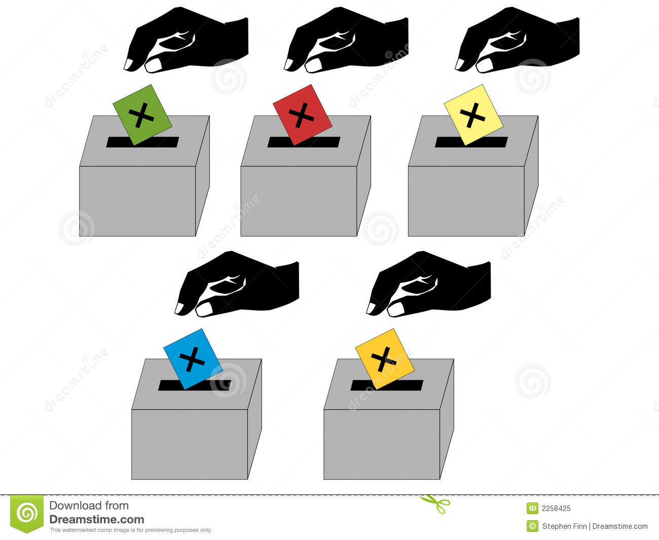 People Voting For British Political Parties Illustration