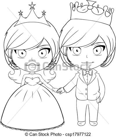 Prince And Princess Clipart Black And White Vector   Prince And