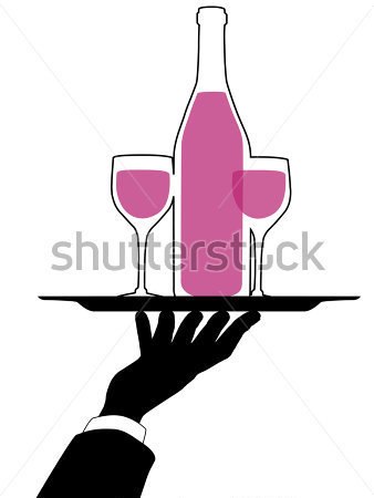 Silhouette Arm And Hand Hold A Serving Tray Red Wine Bottle Clipart
