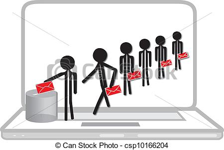 Vector Clipart Of People Voting On Laptop   People Voting On Internet