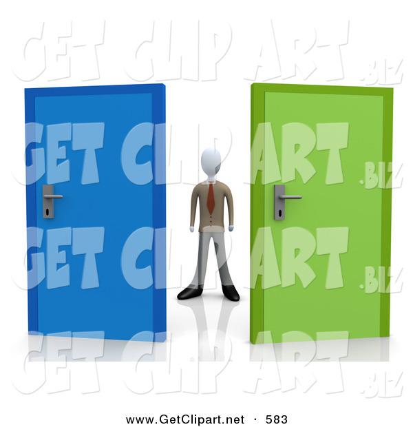 3d Clip Art Of A Uncertain Businessman Standing Between A Blue And A