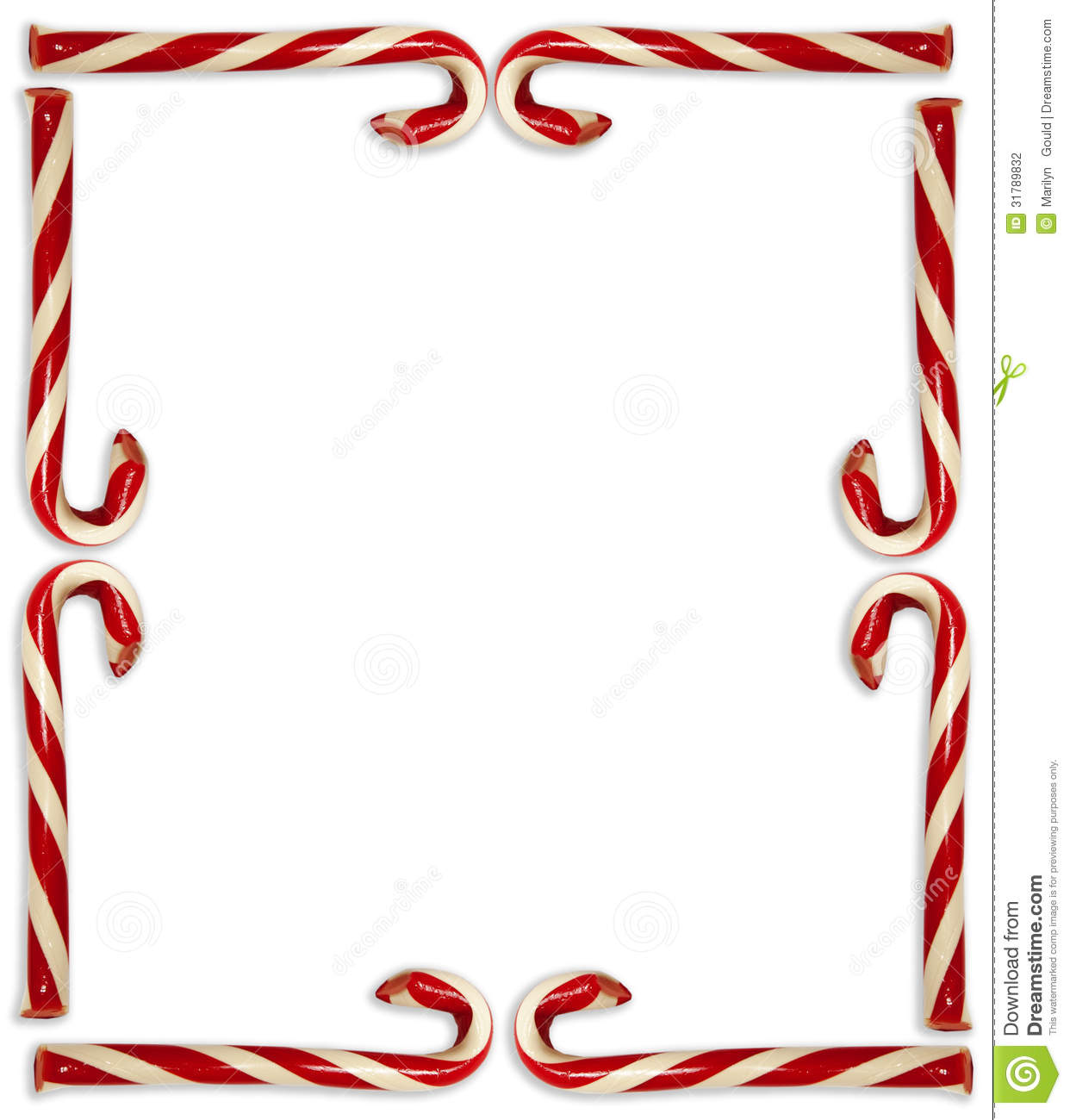 And White Striped Candy Canes Arranged In Border On White Background