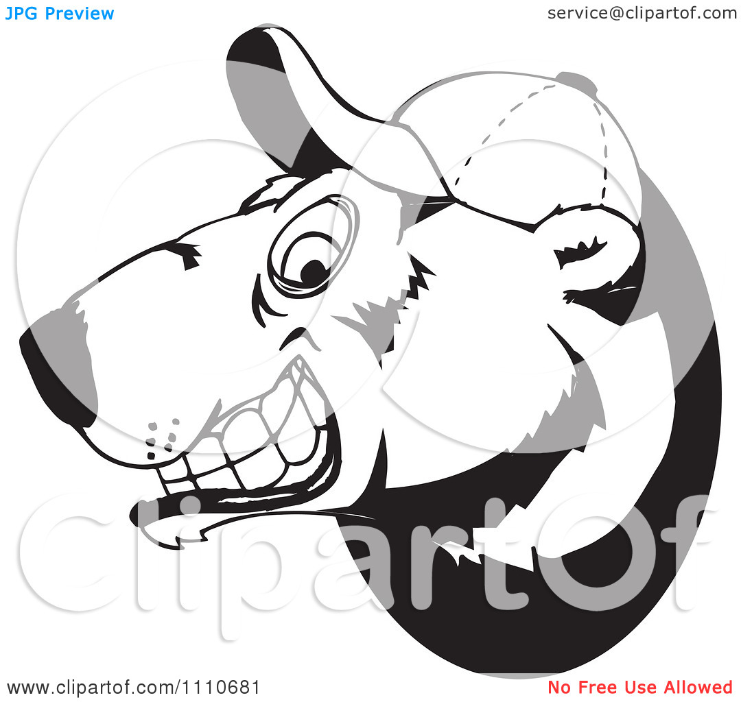 Clipart Black And White Polar Bear Grinning And Wearing A Baseball Hat