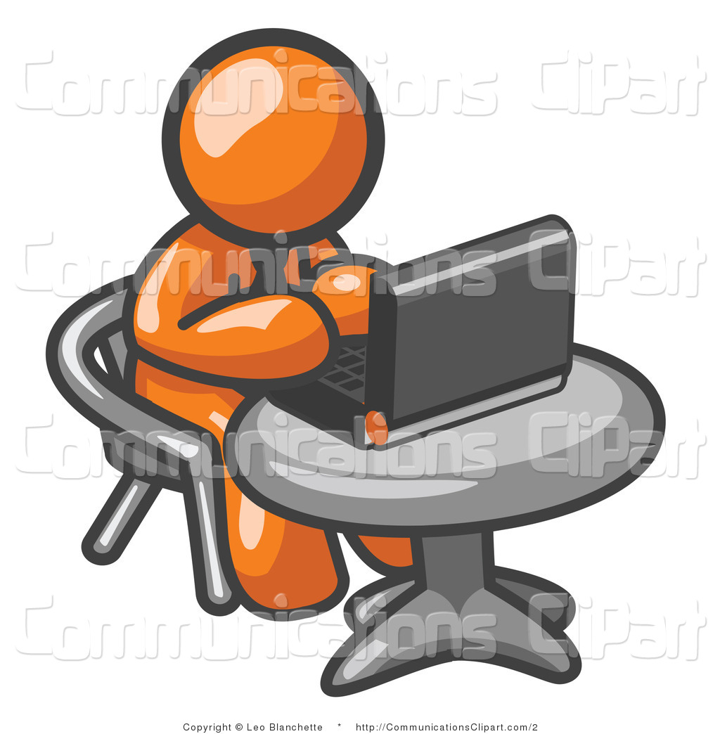 Clipart Of An Orange Man Using A Laptop Computer By Leo Blanchette