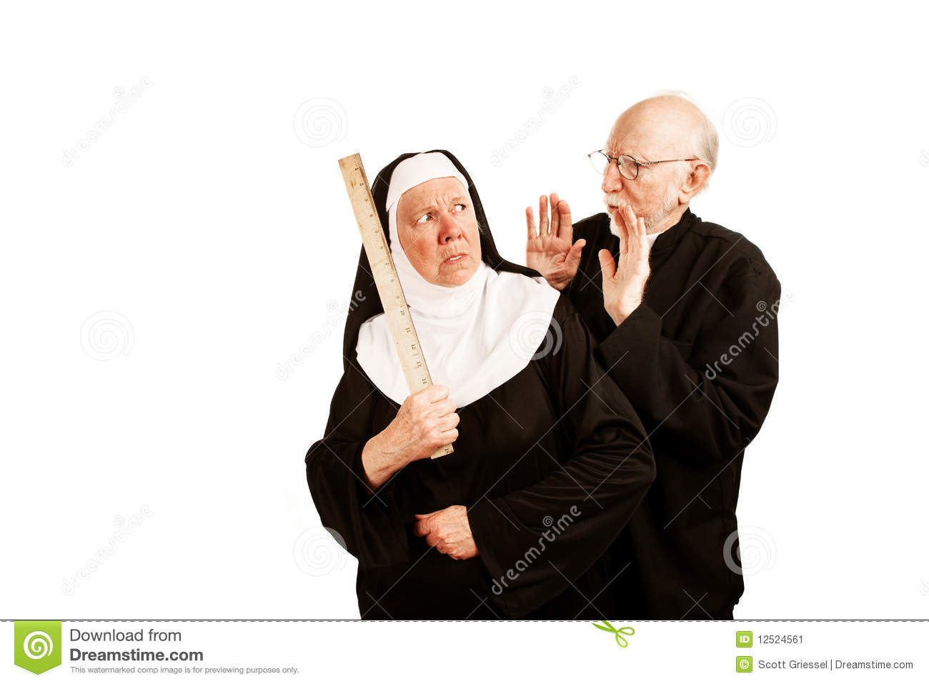 Funny Priest Admonishes Angry Nun With Ruler As Weapon