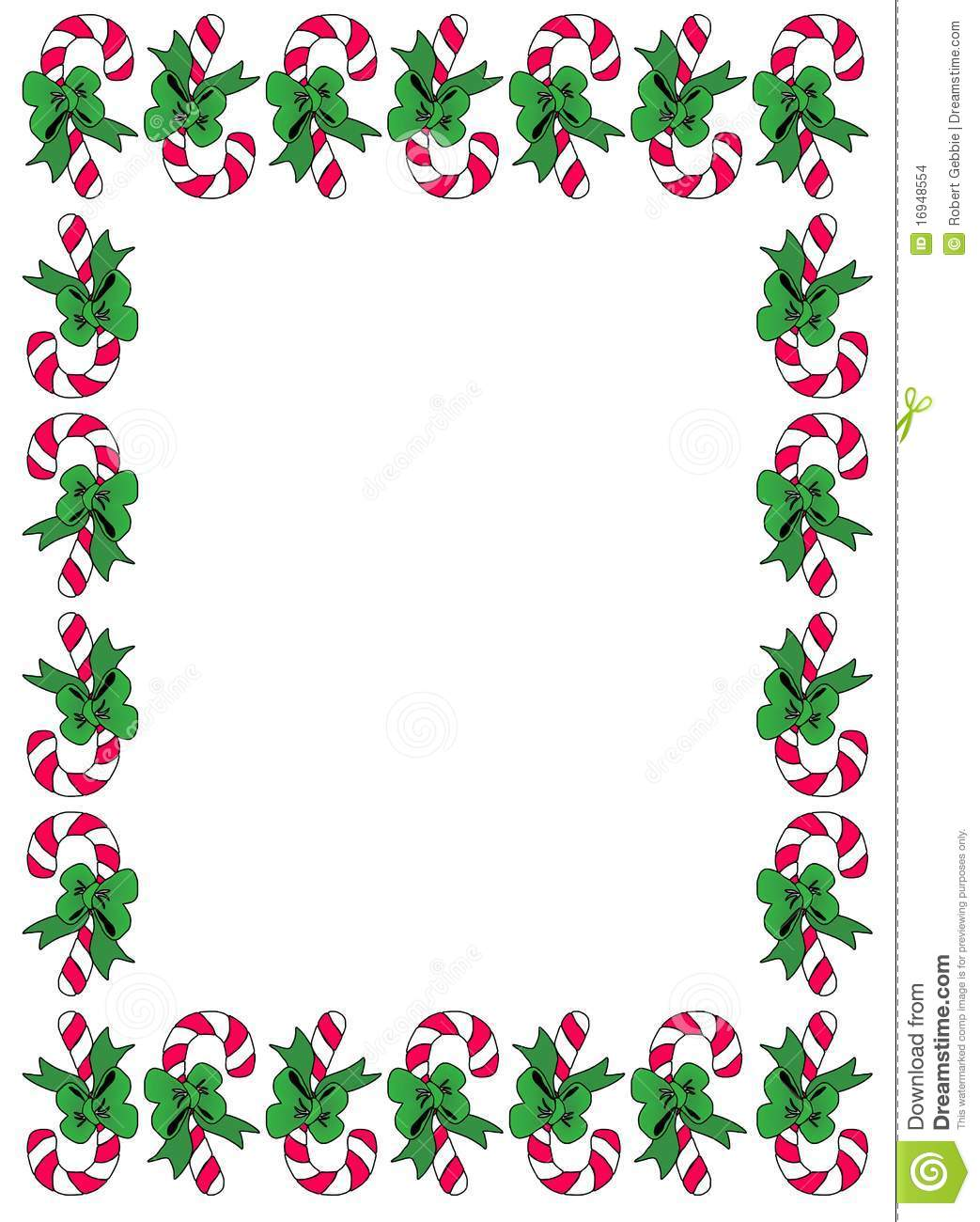 Peppermint Candycane Borders With Pretty Green Bows In A Frame Format