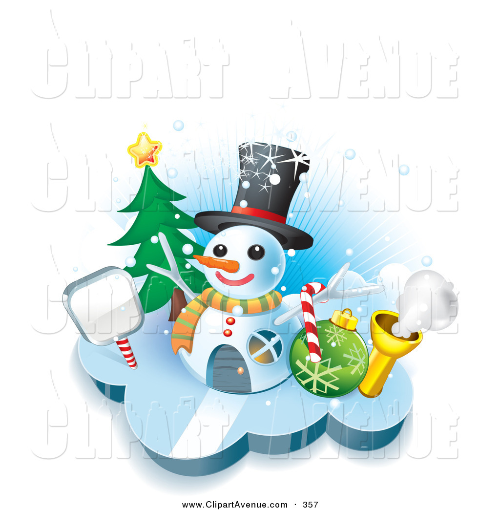 Avenue Clipart Of A Winter House In The Shape Of A Snowman Wearing A