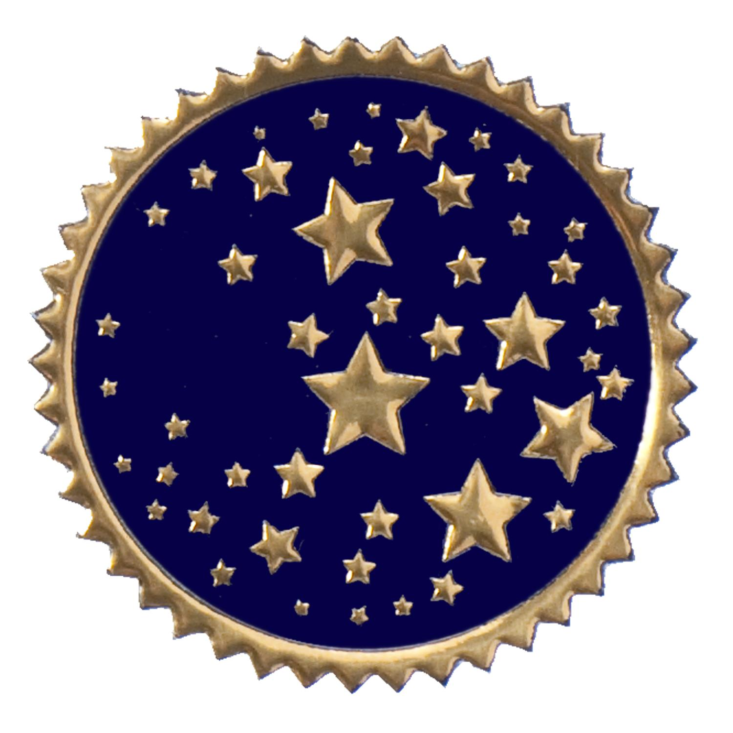 Certificate Seals   Round Navy   Gold Stars Foil Certificate Seals
