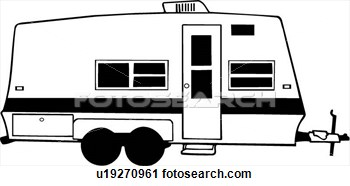 Clipart Of  Camper Recreation Recreational Rv Trailer Vehicle