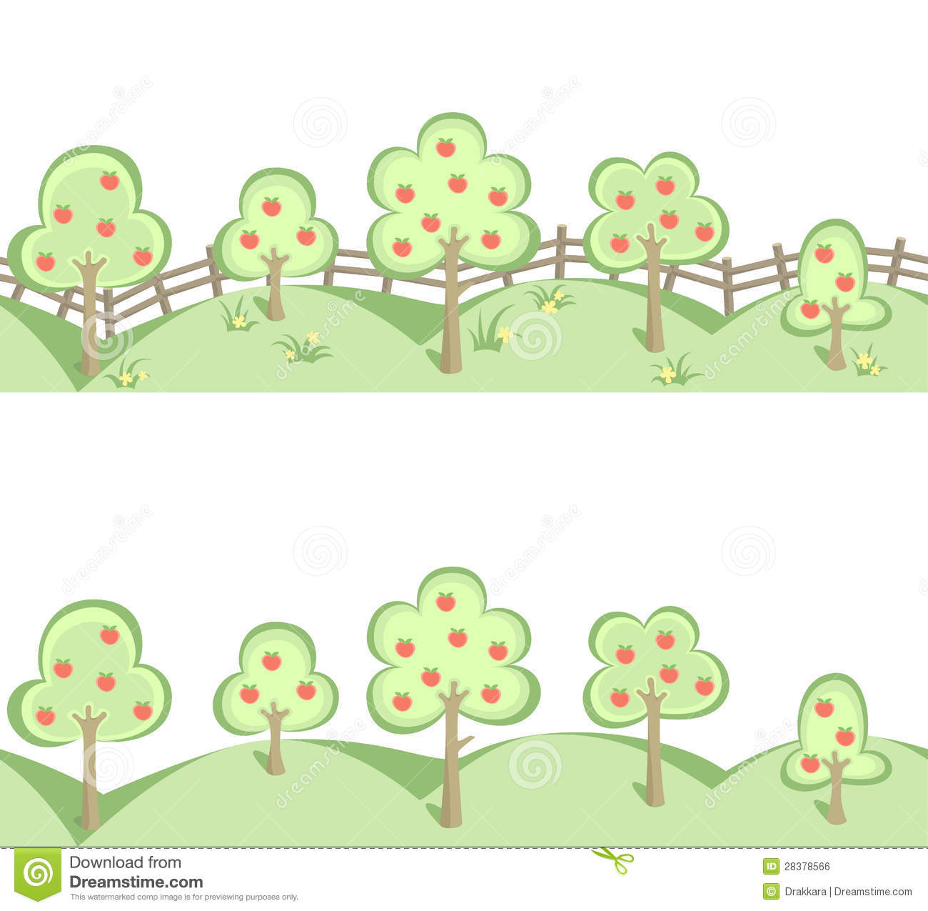 Fruit Trees In Horizontal Seamless Border Royalty Free Stock Image