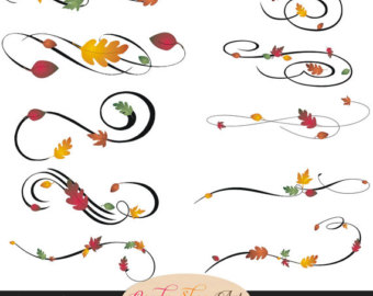 Instant Download   Autumn Swashes Swirls Calligraphy Swashes Fall