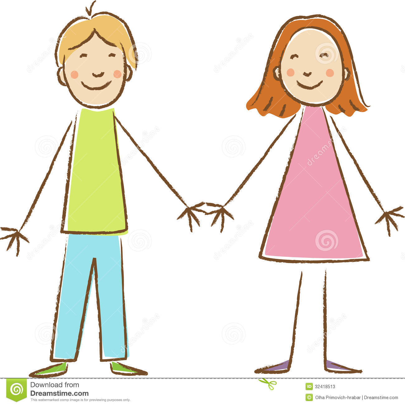 Kids Drawing  Boy And Girl Stock Photos   Image  32418513