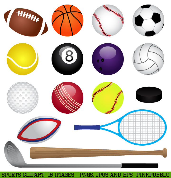 Sports Clipart Clip Art Basketball Baseball Football By Pinkpueblo