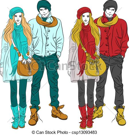 Vector   Vector Fashion Stylish Guy And Girl In Warm Clothes   Stock