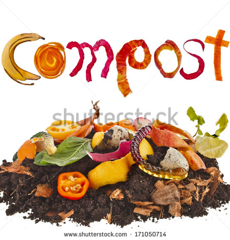 Compost Pile Soil Of Kitchen Scraps Close Up Isolated On White