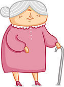Cute Little Grandma Vector Illustration   Clipart Graphic
