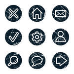 Icons Set 5 Grunge Circle Buttons Brush Grunge Circle Vector Texture
