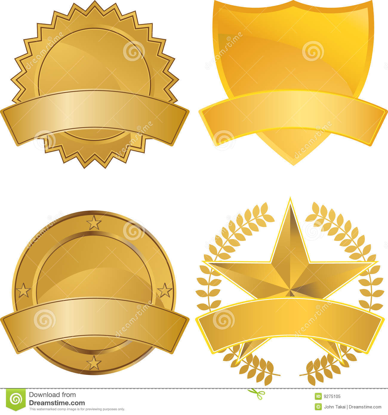 Set Of Gold Award Medals With Space For Text