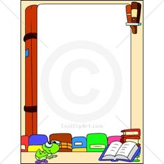 Book Border Clip Art   Keywords Borders Read Reading Books Bookworm