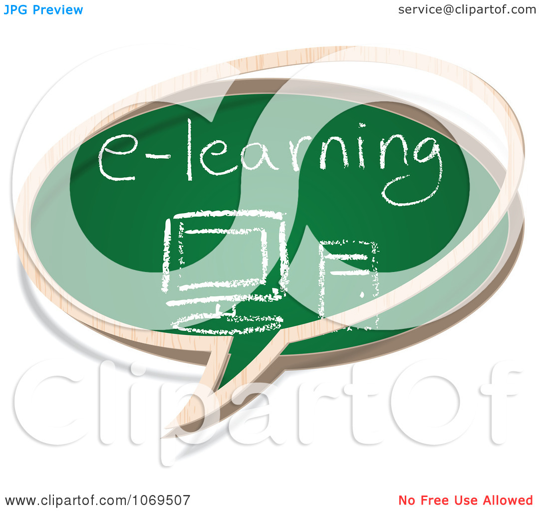 Clipart E Learning Chalkboard Word Balloon   Royalty Free Vector
