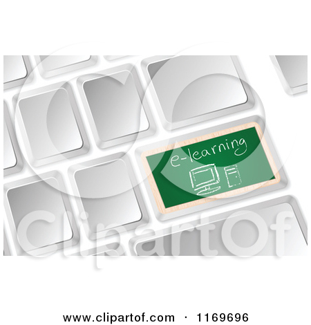 Clipart Of A 3d Computer Keyboard With A Chalkboard E Learning Button