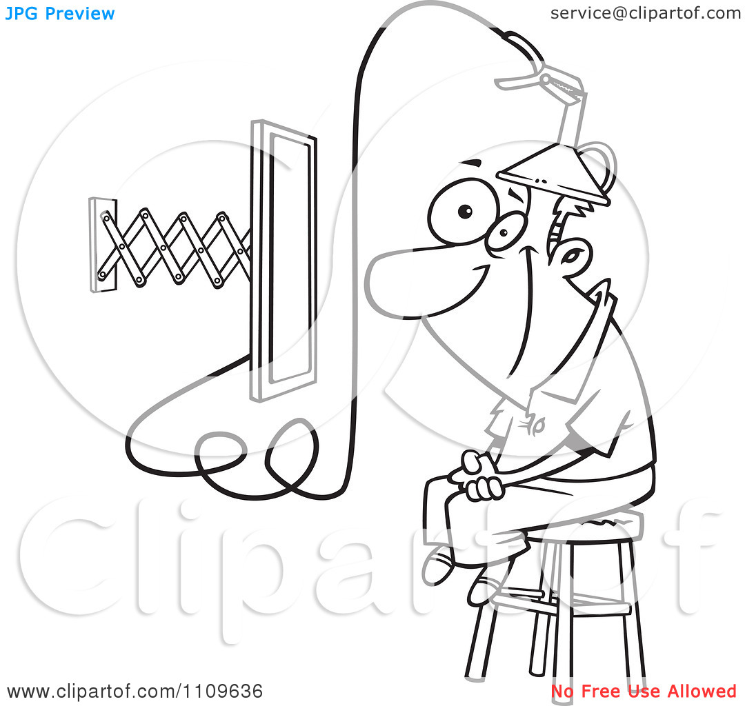 Clipart Outlined Man Attached To An E Learning Machine   Royalty Free