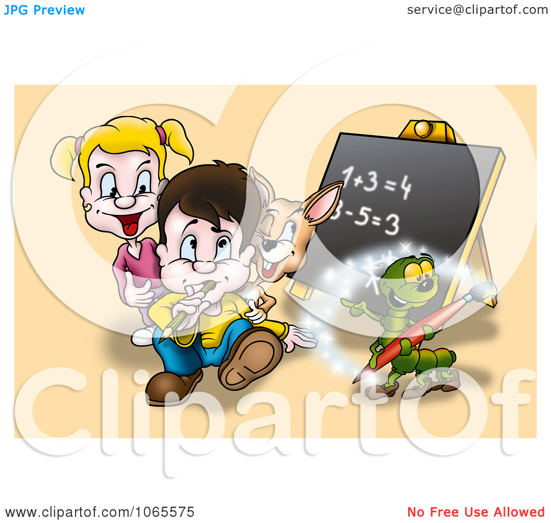 Clipart School Kids And Animals Learning Math   Royalty Free