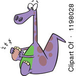Of A Purple Dinosaur With A Sore Foot Royalty Free Vector Clipart