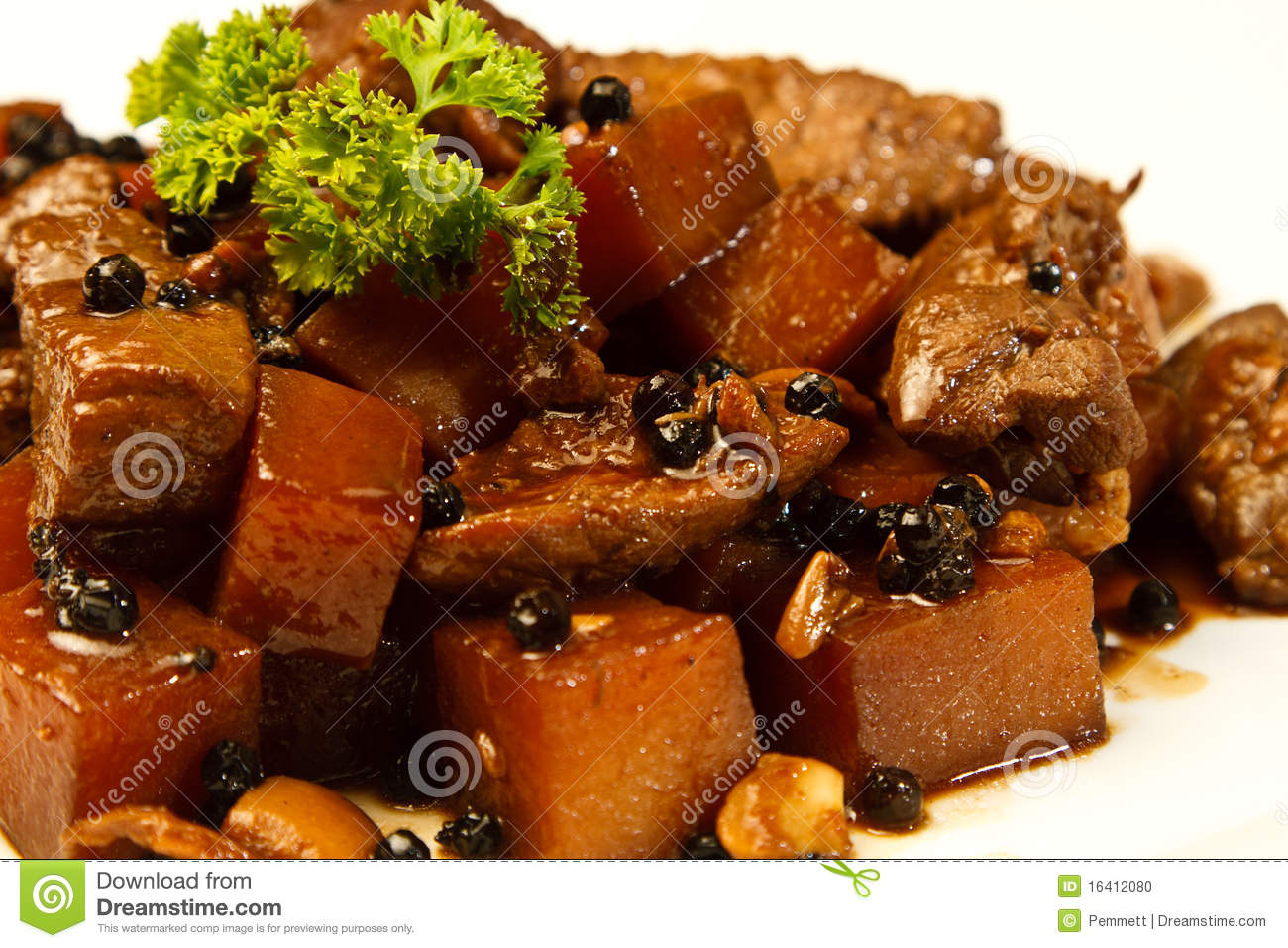 Of Pork Adobo In A Dish  A Traditional Food From The Philippines