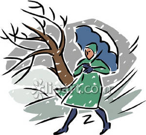 Person Under An Umbrella In The Snow   Royalty Free Clipart Picture