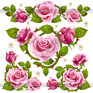 Pink Rose Design Elements   Vector Clipart   Vector Image