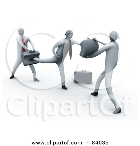 Rf  Clipart Illustration Of 3d Business Men Learning To Fight By 3pod